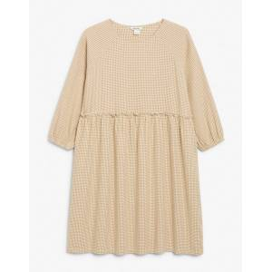 Monki Sol cotton check print mini smock dress in beige  - Beige - Size: Large
