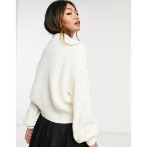 Monki Titti cable knit cropped jumper in cream  - Cream - Size: Medium
