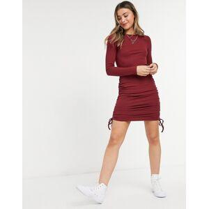 NA-KD bodycon mini dress in burgundy-Black  - Black - Size: Large