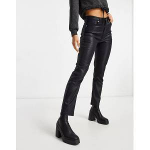 NA-KD high waist coated straight jeans in black  - Black - Size: 36