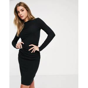 NA-KD rouched rib jersey mini dress in black  - Black - Size: 2X-Large