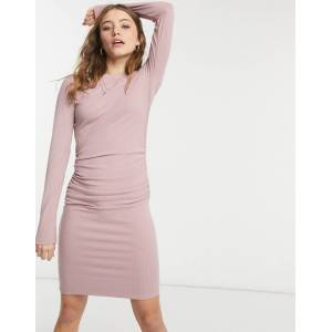 NA-KD ruched rib jersey mini dress in dusty pink-White  - White - Size: Large
