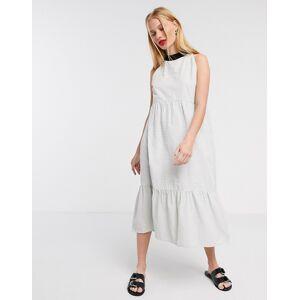 Native Youth midi halterneck dress in stripe-White  - White - Size: Large