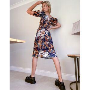 Never Fully Dressed puff sleeve shirred pephem dress in mixed spot print-Multi  - Multi - Size: 12