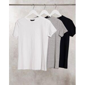 New Look 3 pack girlfriend tees in black white & grey  - Black - Size: 18