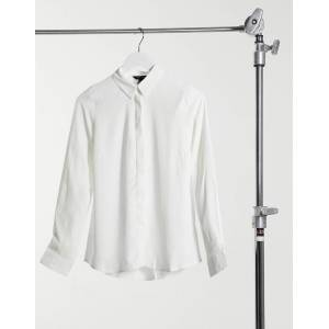 New Look classic button up shirt in white-Cream  - Cream - Size: 18