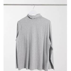 New Look Plus New Look Curve roll neck top in mid grey  - Grey - Size: 18
