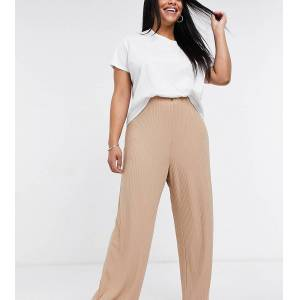 New Look Plus New Look Curve wide rib trousers in camel-Tan  - Tan - Size: 22