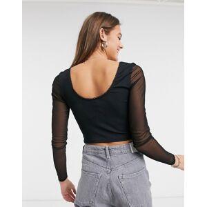 New Look mesh sleeve crop top in black  - Black - Size: 18
