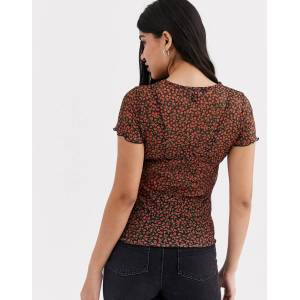 New Look mesh tee in red rose ditsy floral  - Red - Size: 6