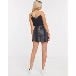 New Look seamed faux leather mini skirt in black  - Black - Size: 18