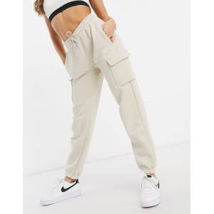 Nike cargo pocket joggers in oatmeal-Cream  - Cream - Size: Medium