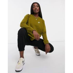 Nike essentials crew neck sweatshirt in khaki green  - Green - Size: Extra Small