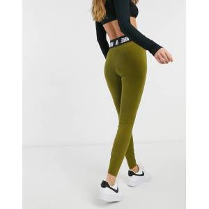 Nike high waist logo khaki leggings-Green  - Green - Size: Large