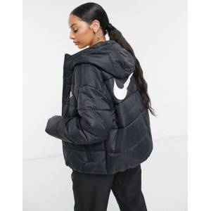 Nike padded jacket with back swoosh in black  - Black - Size: Small