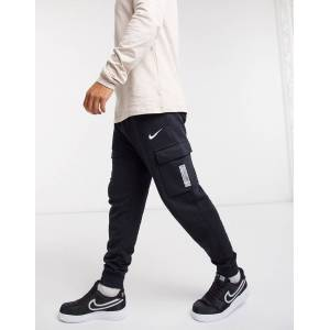 Nike Swoosh On Tour Pack cuffed cargo joggers in black  - Black - Size: Large