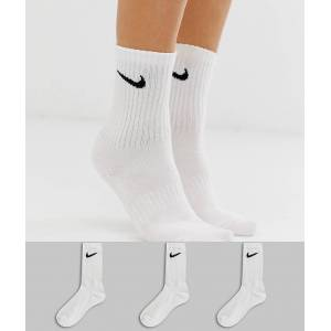 Nike white swoosh logo 3 pack crew socks  - White - Size: Medium