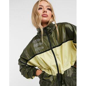 Nike woven colour block track jacket in khaki green  - Green - Size: Medium