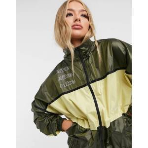 Nike woven colour block track jacket in khaki green  - Green - Size: Large