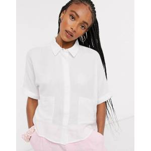Noisy May gary pocket detail cropped blouse in white  - White - Size: Medium