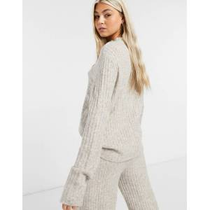 Noisy May knitted jumper co-ord in cream-Grey  - Grey - Size: Medium