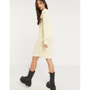 Noisy May Tall knitted jumper dress with sleeve detail in cream  - Cream - Size: Large