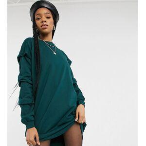 Noisy May Tall oversized sweater dress in dark green-Grey  - Grey - Size: 2X-Large