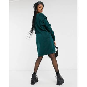 Noisy May Tall oversized sweater dress in dark green-Grey  - Grey - Size: Large