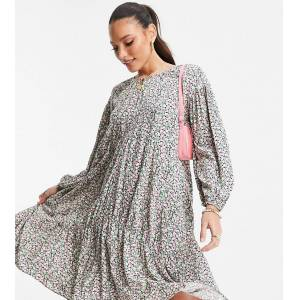 Only Tall smock mini dress in colourful ditsy floral print-Black  - Black - Size: 2X-Large