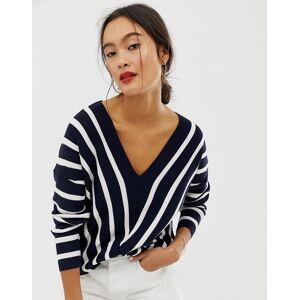Only vertical stripe wide v neck jumper-Navy  - Navy - Size: Large