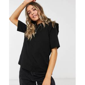 Pieces 3/4 sleeve blouse with frill detail in black  - Black - Size: Medium