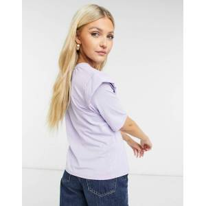 Pieces 3/4 sleeve blouse with frill detail in purple heather  - Purple - Size: Medium