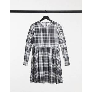 Pieces Alberte checked mini smock dress with long sleeves in black and white  - Black - Size: Extra Small
