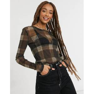 Pieces Alicha long sleeve check mesh top in black  - Black - Size: Extra Small