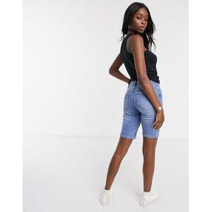 Pieces Amelia high waisted long line denim shorts-Blue  - Blue - Size: Medium