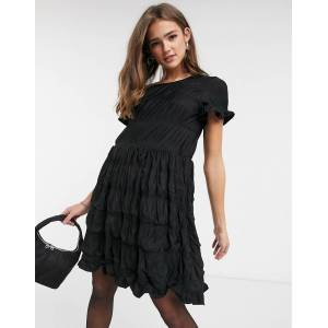 Pieces Andrea ruched mini dress in black  - Black - Size: Large