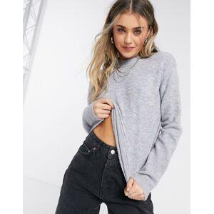Pieces Annica high neck textured jumper in grey  - Grey - Size: Medium