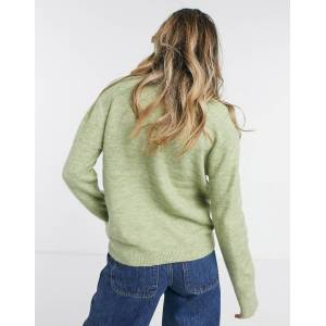 Pieces Annica high neck textured jumper in olive-Green  - Green - Size: Large