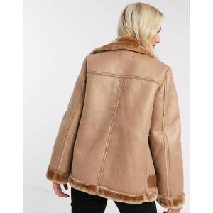Pieces aviator jacket in tan  - Tan - Size: Extra Small