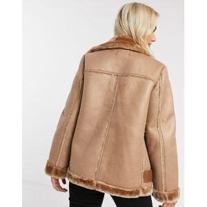 Pieces aviator jacket in tan  - Tan - Size: Medium