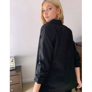 Pieces blazer with ruched sleeves in black  - Black - Size: Large