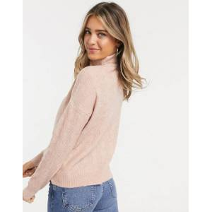 Pieces cable jumper with high neck in pink  - Pink - Size: Small