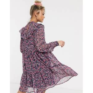 Pieces chiffon mini smock dress with ruffle detail in purple ditsy floral-Multi  - Multi - Size: Small