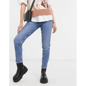 Pieces Cleah high waisted mom jeans in medium blue denim  - Blue - Size: Large