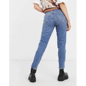 Pieces Cleah high waisted mom jeans in medium blue denim  - Blue - Size: Small