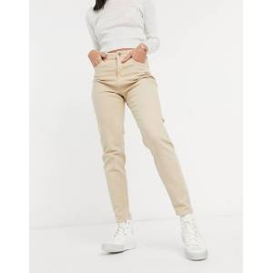 Pieces Cleah high waisted mom jeans in white pepper  - White - Size: Extra Large
