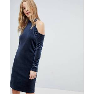 Pieces Cold Shoulder Glitter Velvet Mini Dress-Navy  - Navy - Size: Small