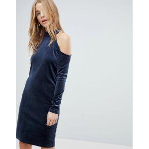 Pieces Cold Shoulder Glitter Velvet Mini Dress-Navy  - Navy - Size: Extra Small