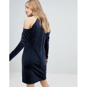 Pieces Cold Shoulder Glitter Velvet Mini Dress-Navy  - Navy - Size: Large