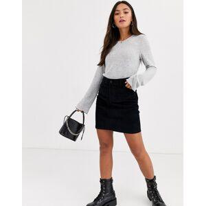 Pieces cord mini skirt in black  - Black - Size: Small